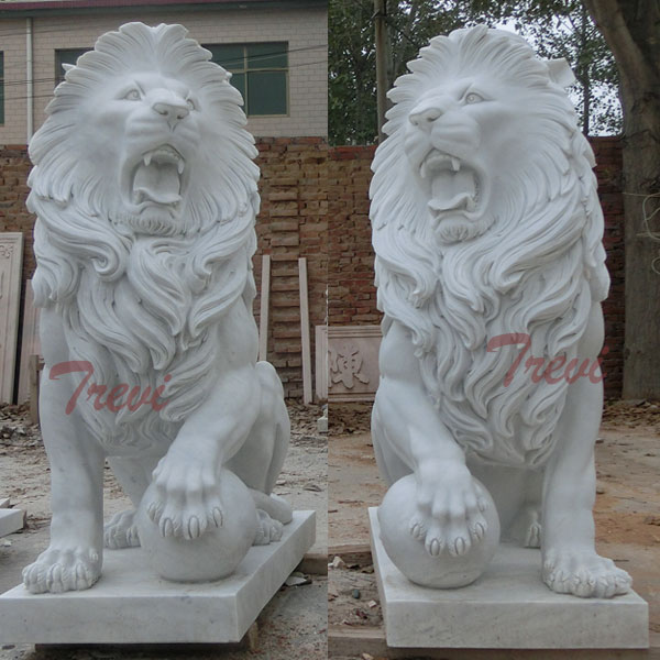 Outdoor White Marble Sitting Lion with Paw on Ball for Front Porch Sale TMA-12