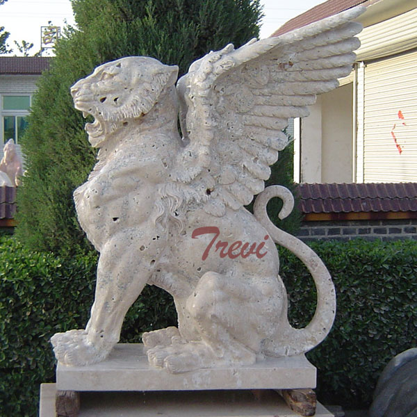 White marble winged lion gargoyle garden statues outdoor guarding entrance TMA-24
