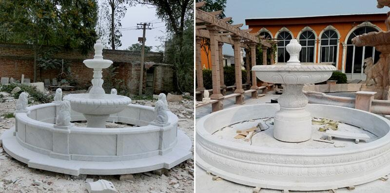 3 tier marble water fountain for outdoor garden center decoration