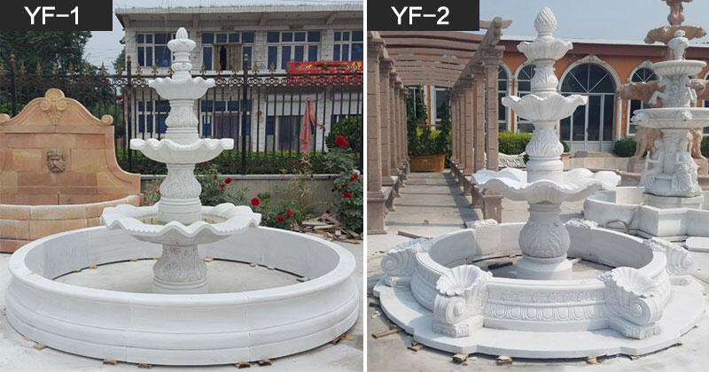3 tier white marble water fountain for outdoor garden center decoration