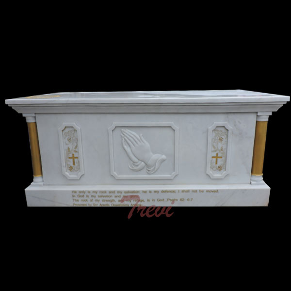 Catholic church furniture of white marble altar table to buy TCH-114