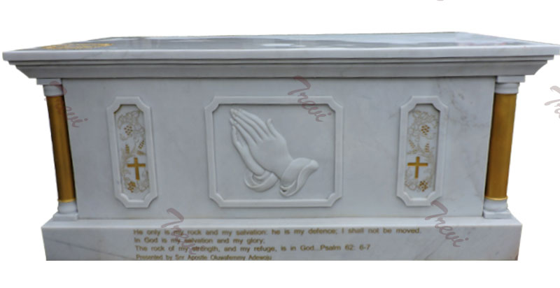 Catholic church furniture of white marble altars table to buy
