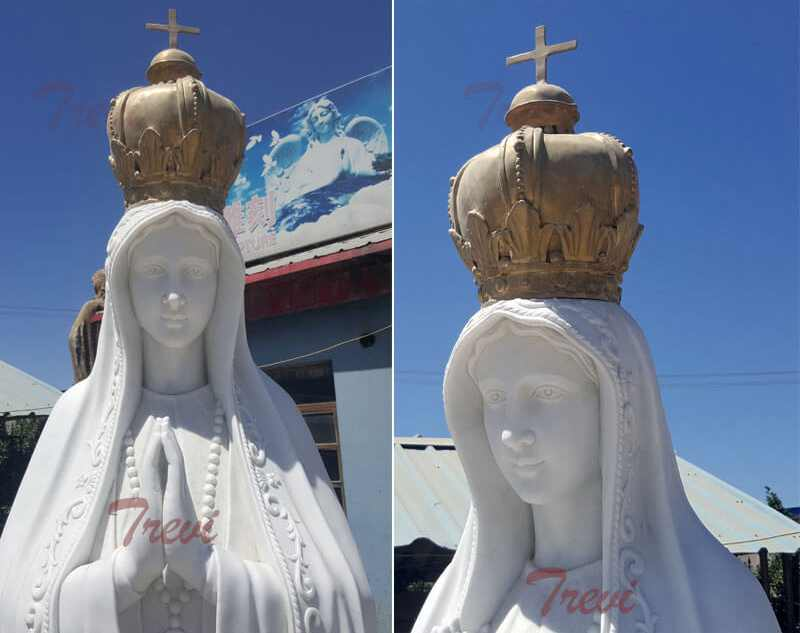Catholic marble outdoor statues lady of Fatima from Portugalwith crown for sale