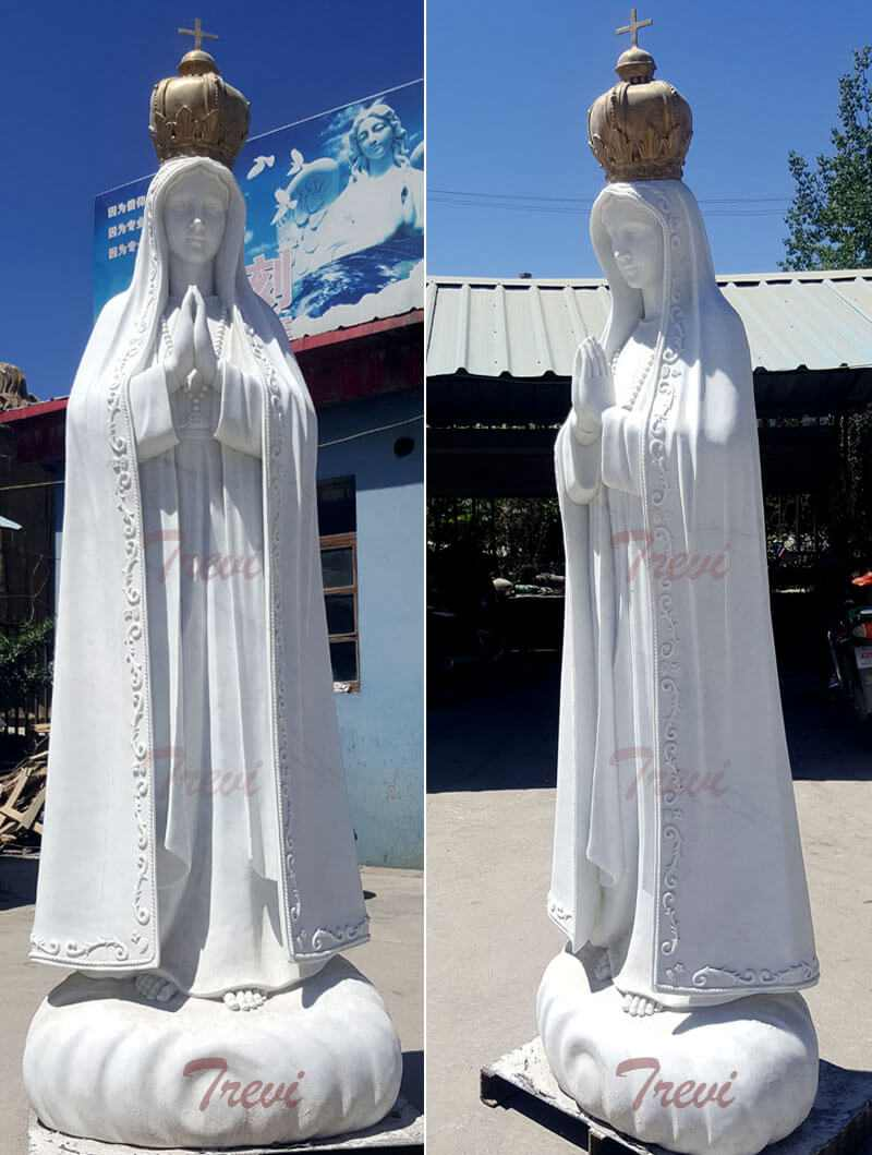 Catholic marble outdoor statues lady of Fatima from Portugalwith crown