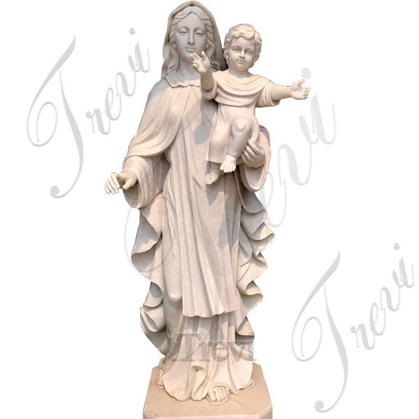 Catholic Virgin Madona and Child Garden Marble Statues TCH-151