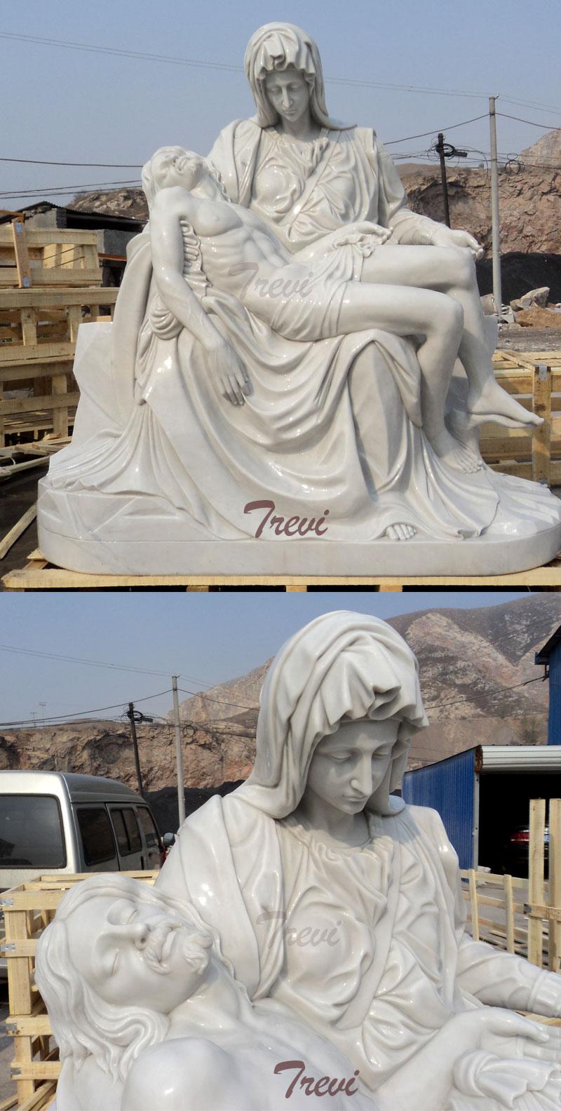 Church religious garden statues of Michelangelo's Pieta replication