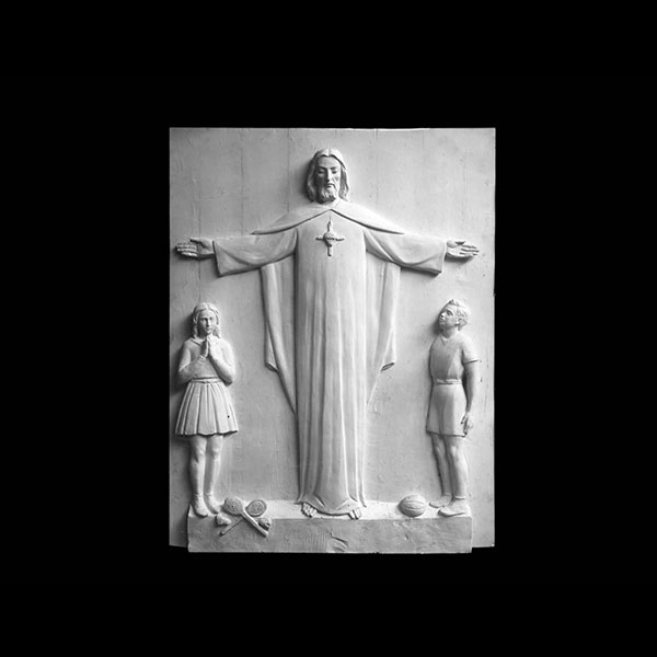 Church wall decor sacred heart jesus with children marble relief sculptures