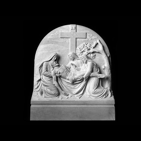 Church wall decor station of the cross marble relief sculptures