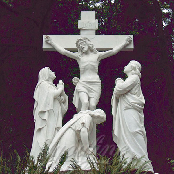 Crucifixion of jesus christ on the cross white marble statues designs