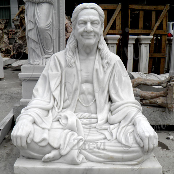 Custom made life size indian famous figure marble statue of Kripalu Maharaj from a photo designs TMC-25