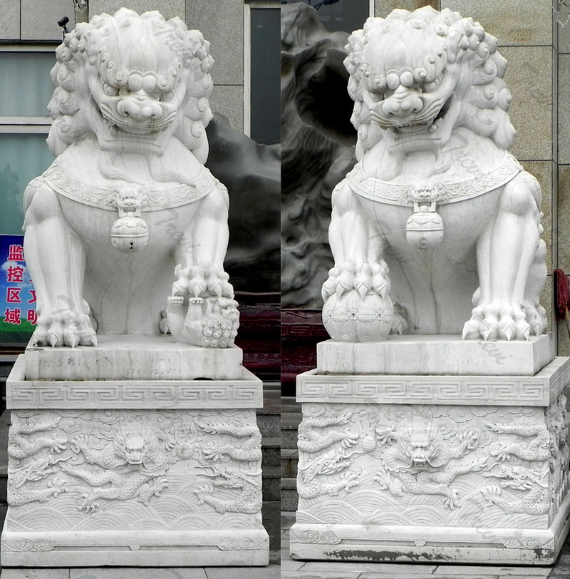 Factory white guardian foo dog statues pair artwork for driveway
