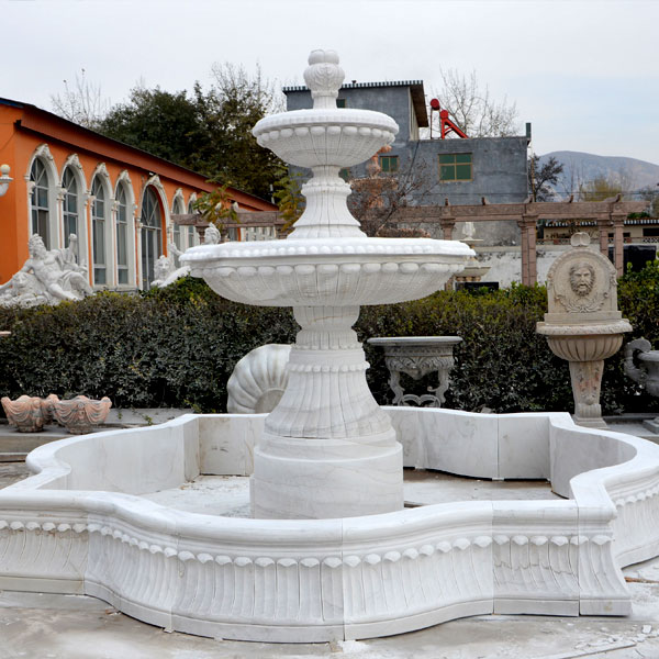 Garden 3 tier white marble water fountain outdoor for sale MOKK-95