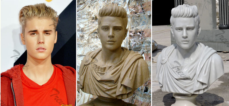 How to custom made famous star bust head statue of Justin Bieber from a photo