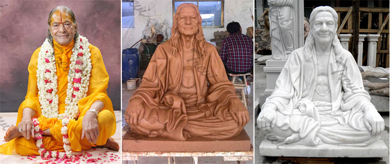 How to custom made life size indian famous figure marble statue of Kripalu Maharaj from a photo