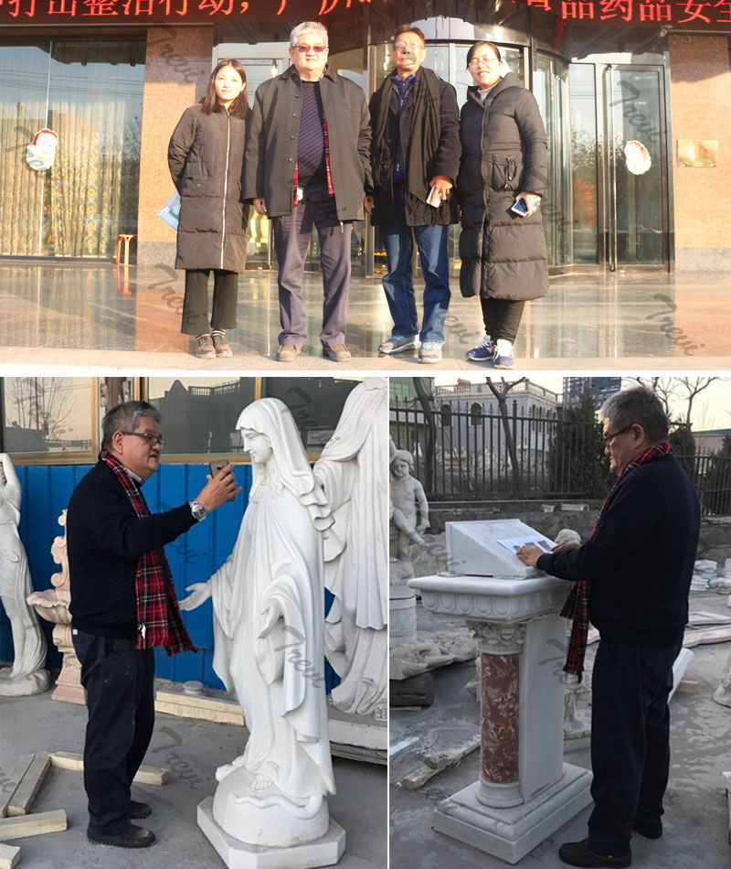 Lawrence and his friend visit our catholic marble sculpture factory