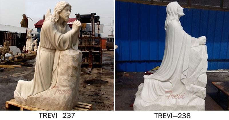Life size christ jesus kneeling in prayer at Gethsemane garden religious statues outdoor