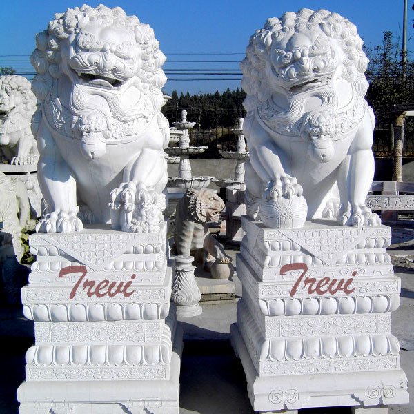 Life size feng shui foo dog pair in front of house meaning TMA-92