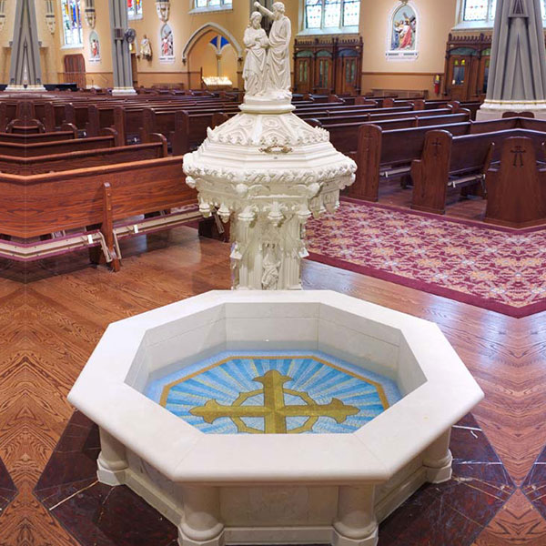 Decorative Outdoor Marble Baptismal Font in Catholic Church TCH-109
