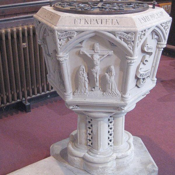 Marble stone baptismal font for catholic church interior decorMarble stone baptismal font for catholic church interior decor