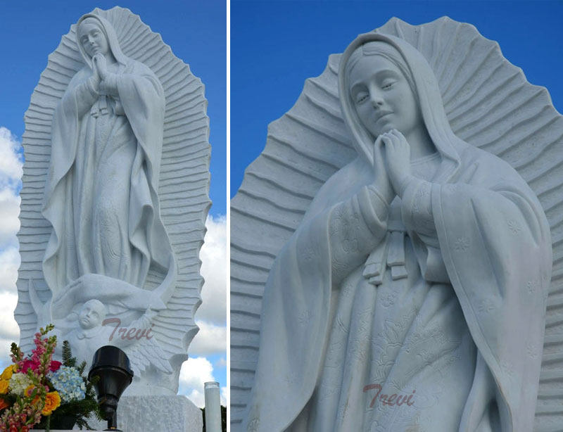 Our lady of guadalupe outdoor catholic white marble statues for sale