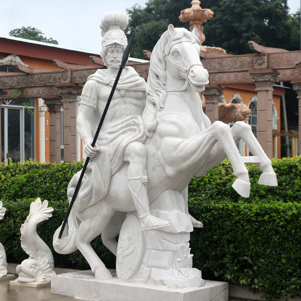 Outdoor garden italian marble horse statues with roman warrior sculptures for sale