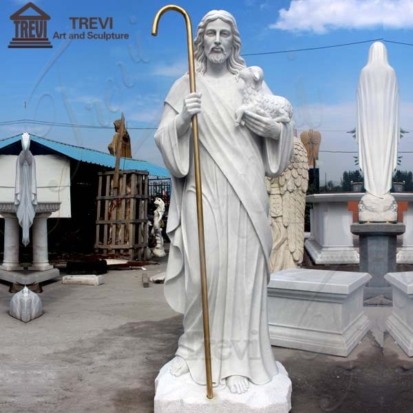 Life Size Marble Religious Sculpture Shepherd Jesus Hold Lamb for Sale TCH-200