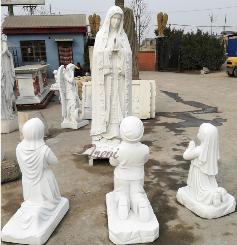 Religious marble garden statues of Fatima and three shepherd for church