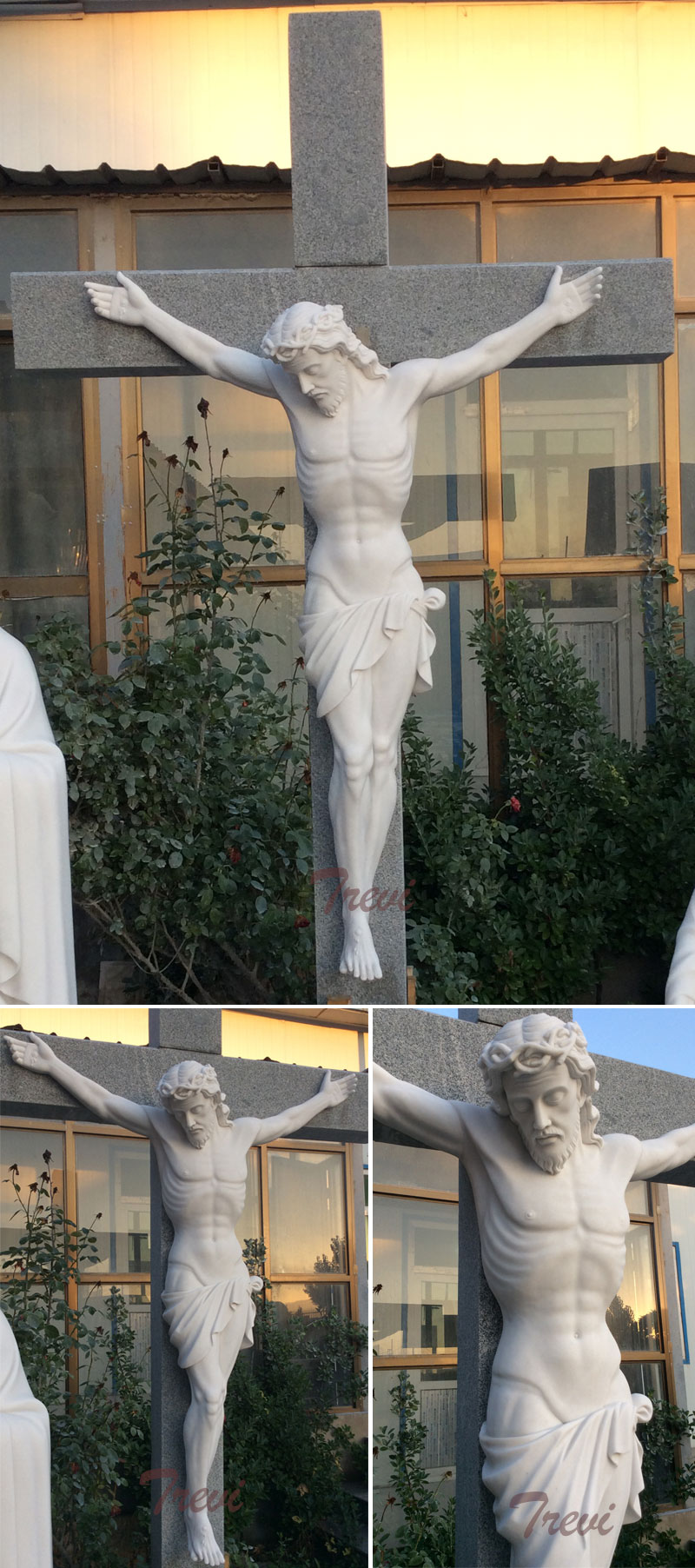 The crucifixion of jesus christ on the cross marble religious statue for church decoration