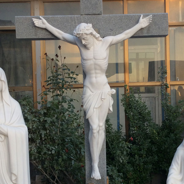 The crucifixion of jesus christ on the cross marble religious statues for church decoration TCH-10