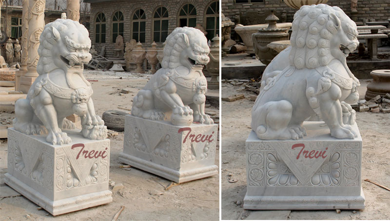 White marble Chinese dog lion pairs animal art decor for backyard outdoor