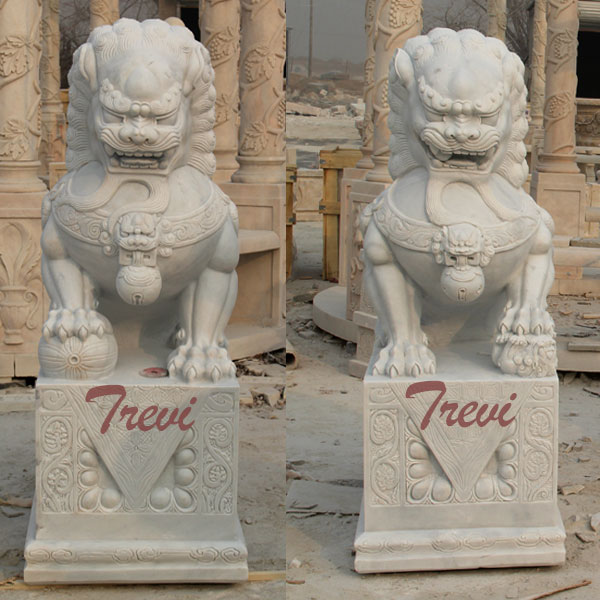 White marble Chinese dog lion pairs animal art decor for backyard