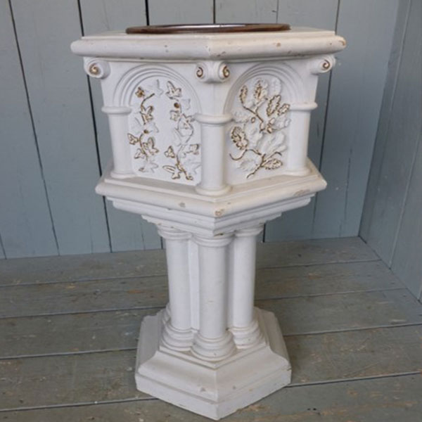 White marble baptismal font for catholic church interior designs