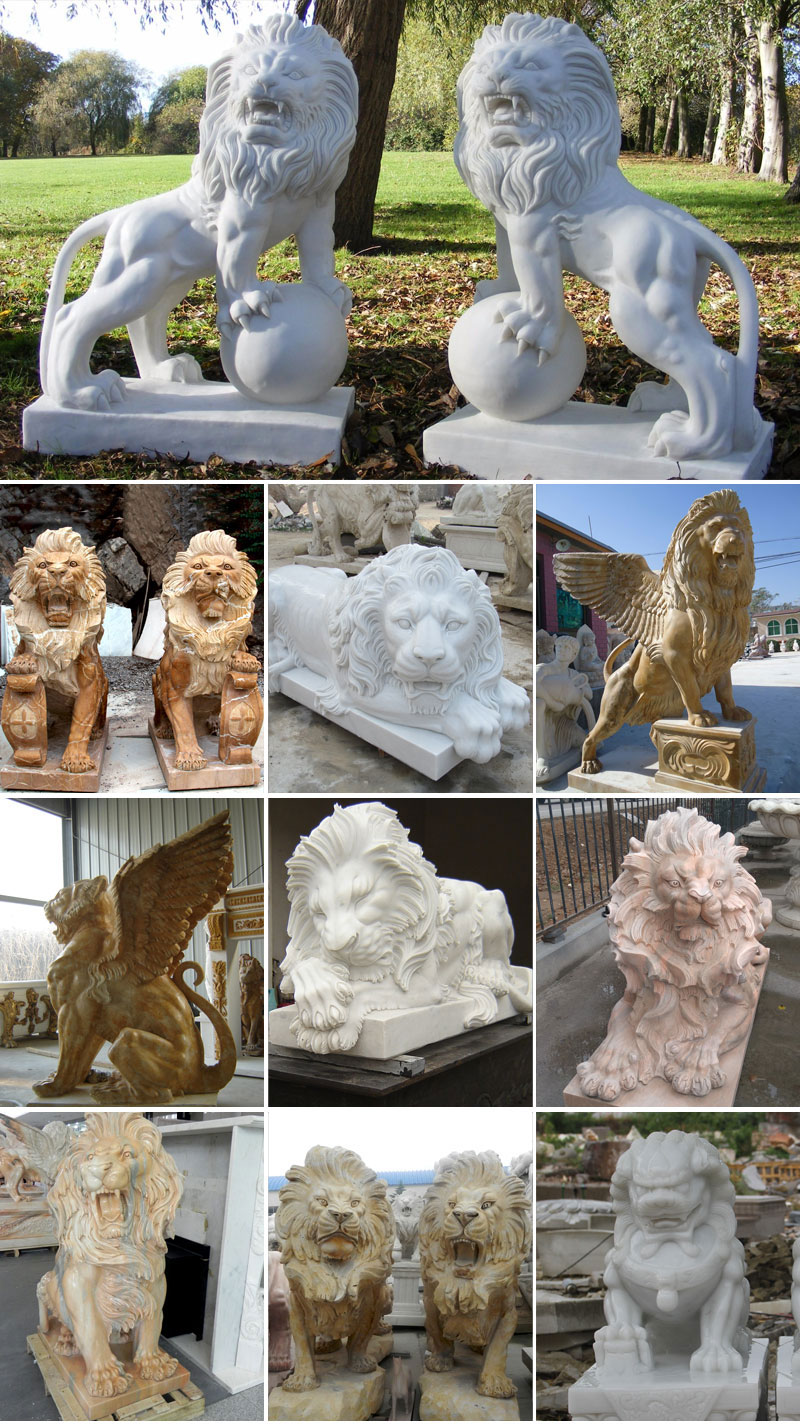 guardian marble lion statues for sale