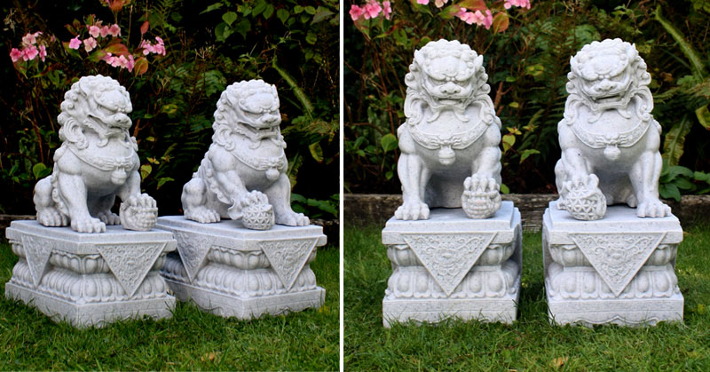 life size feng shui dog lion in front of house meaning