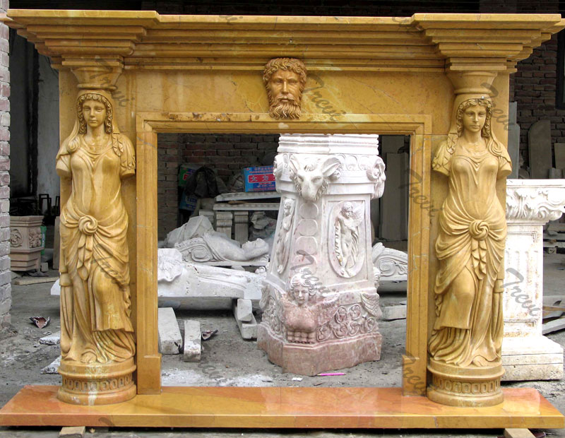 Anique marble corner fireplace mantels ornaments home depot idears