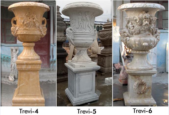 Antique marble large planters pots for yard decor designs