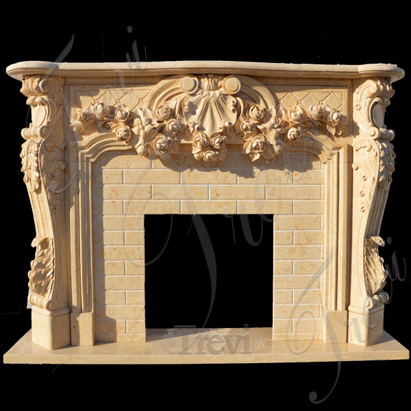 Antique stone decorative french country firaplace mantels surrounds for sale online TMFP-13