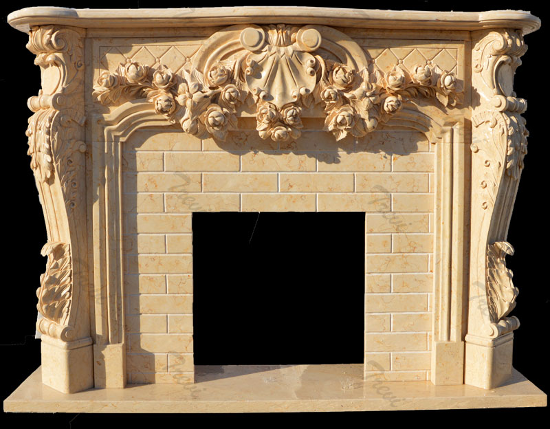 Antique stone decorative french country firaplace mantels surrounds for sale