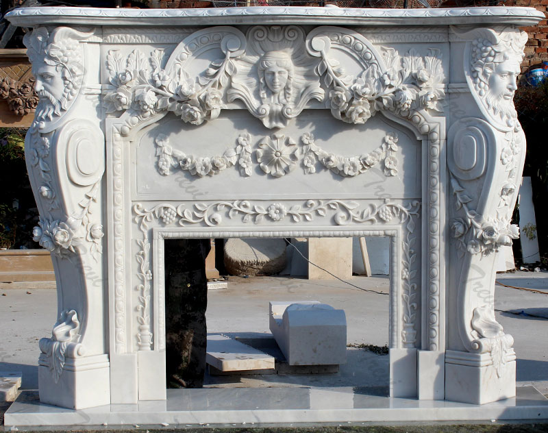 Buy french style white marble fireplace mental shelf for sale
