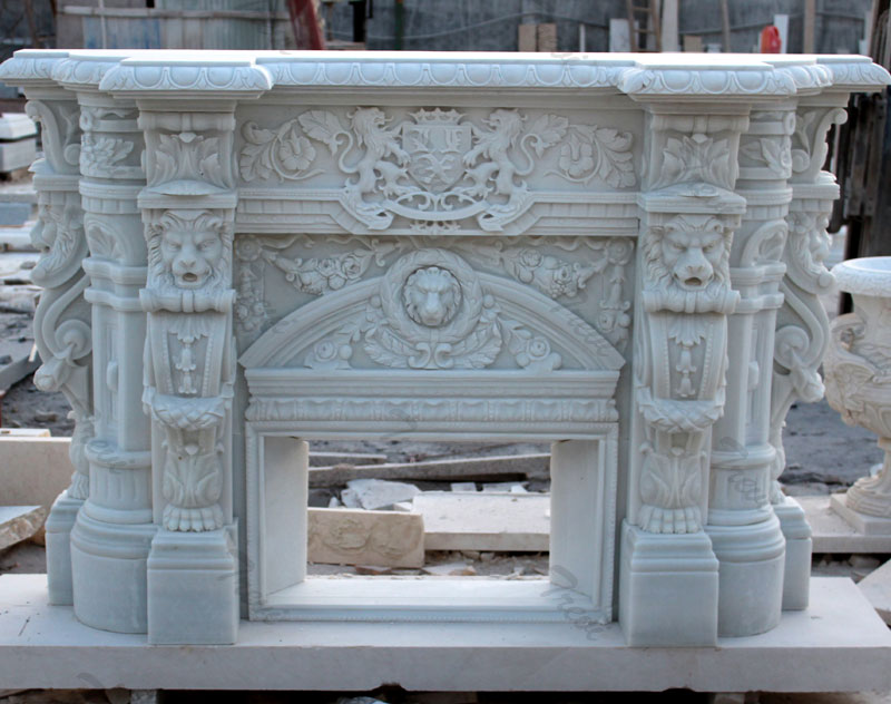 Buy white mediterranean stone fireplace mantels and surround decor online