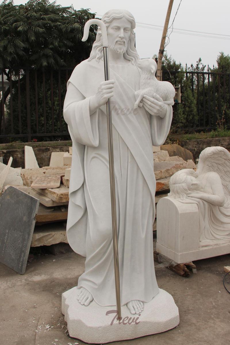 Catholic church garden statues of shepherd Jesus hold lamb designs for sale.jpg