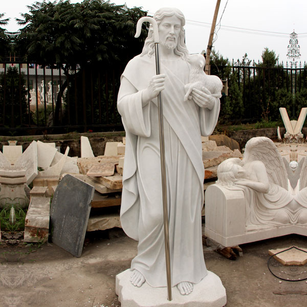 Catholic church garden statues of shepherd Jesus hold lamb for sale TCH-16