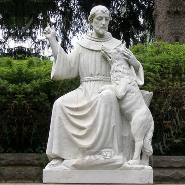 Catholic Saint St. Francis of Assisi White Marble Garden Statue with Dog for Sale TCH-204