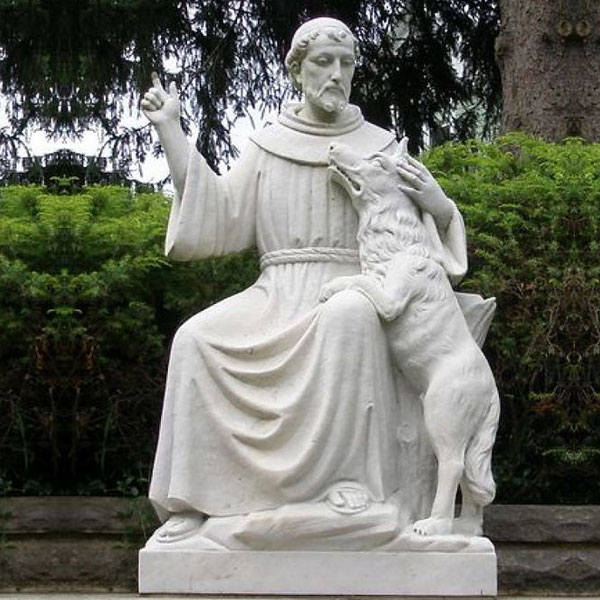 Catholic saint st. francis of assisi white marble statue with dog for sale