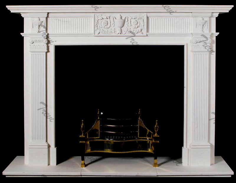 Cheap simple white marble tiles fireplace mantel frame for sale