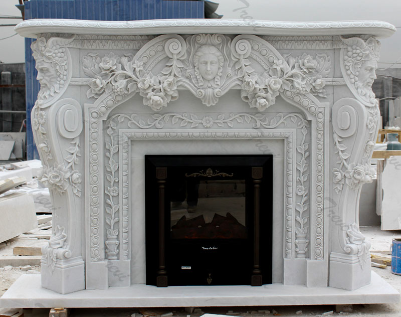 Contemporary home depot white marble carving fireplace mental surround for sale