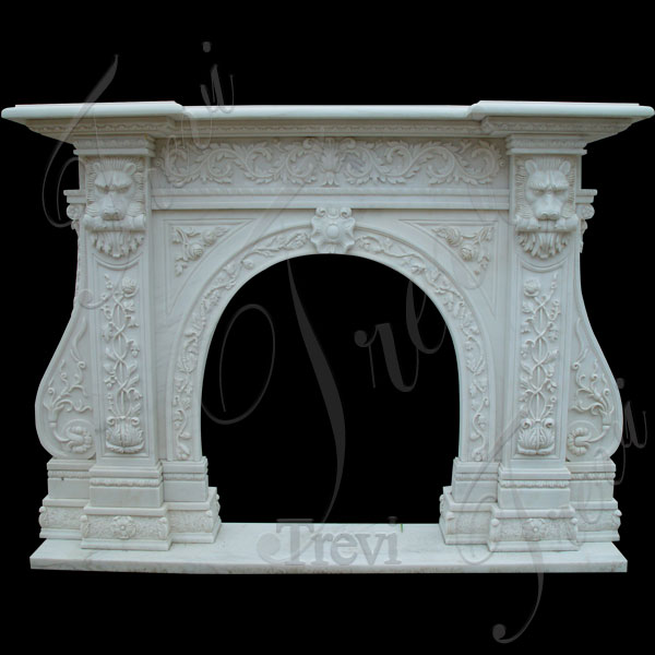 Custom decorating marble stone fireplace mantels and surrounds near me TMFP-4