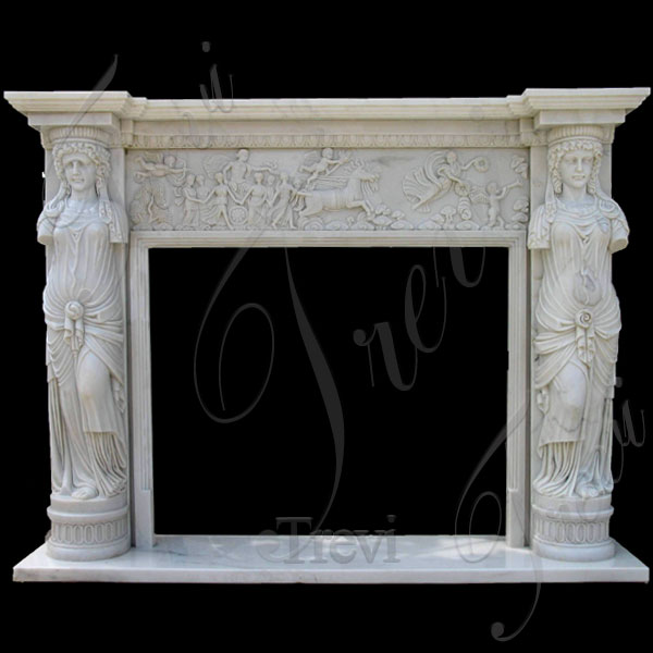 Custom mediterranean white marble fireplace mantels for sale TMFP-15