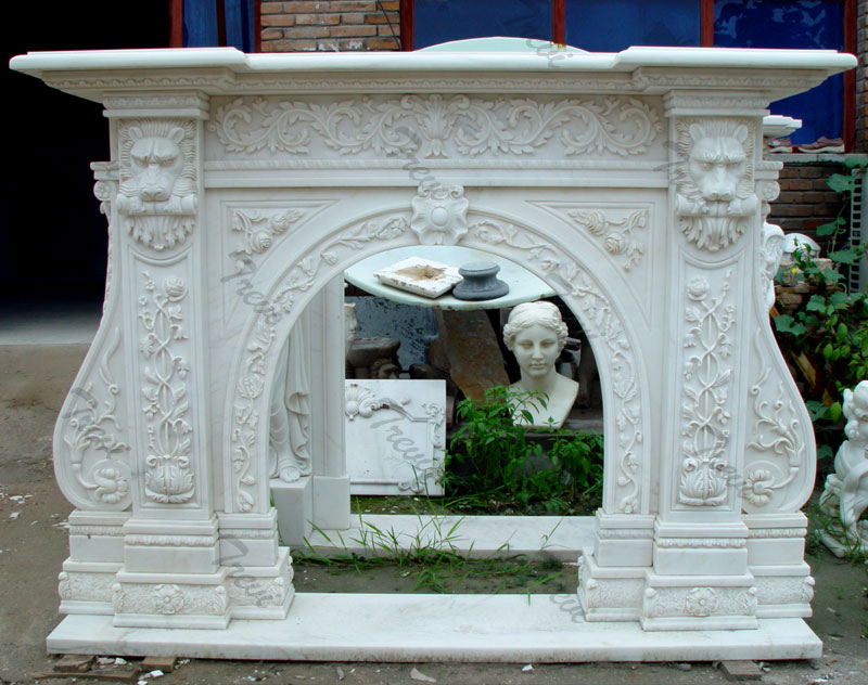 Custom white decorating marble stone fireplace mantels and surrounds near me