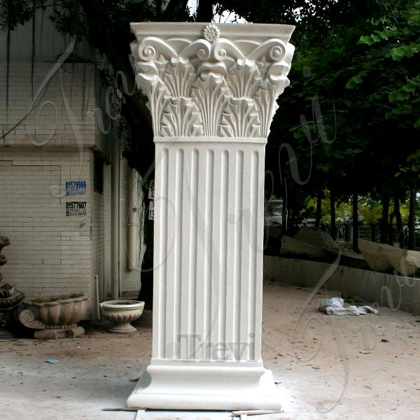 Decorative support white marble rectangular corinthian columns for sale TMC-9